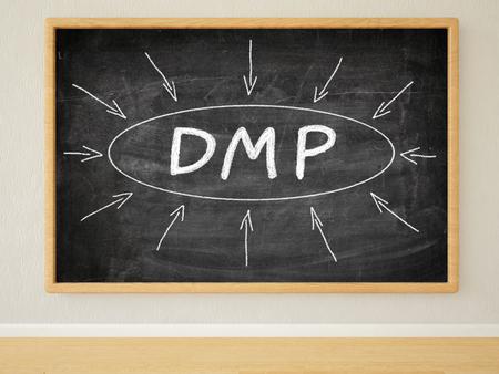 debt management: DMP - Data Management Platform or Debt Management Plan - 3d render illustration of text on black chalkboard in a room. Stock Photo