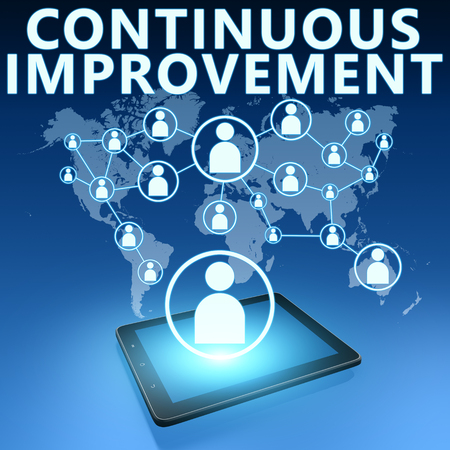 cip: Continuous Improvement illustration with tablet computer on blue background