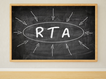rta: RTA - Real Time Advertising - 3d render illustration of text on black chalkboard in a room.