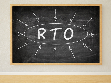 contingency: RTO - Recovery Time Objective - 3d render illustration of text on black chalkboard in a room.