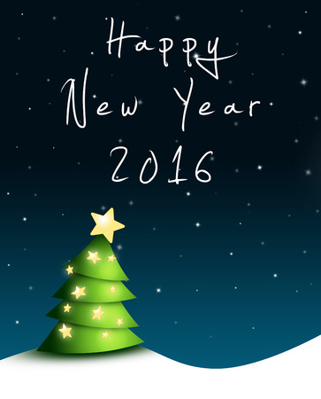 nightly: Nightly greeting card for New Years Eve 2016 with green fir tree, stars and happy new year text
