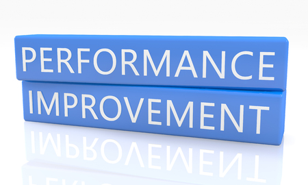 performance improvement: Performance Improvement - 3d render blue box with text on it on white background with reflection