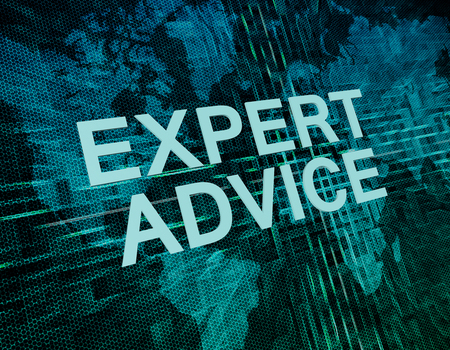 tax consultants: Expert Advice text concept on green digital world map background Stock Photo