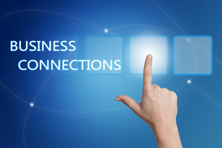 business connections: Business Connections - hand pressing button on interface with blue background. Stock Photo
