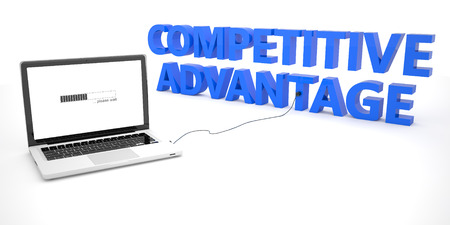 in differentiation: Competitive Advantage - laptop notebook computer connected to a word on white background. 3d render illustration. Stock Photo