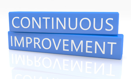 improvement: Continuous Improvement - 3d render blue box with text on it on white background with reflection Stock Photo