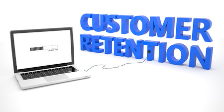 retention: Customer Retention - laptop notebook computer connected to a word on white background. 3d render illustration.