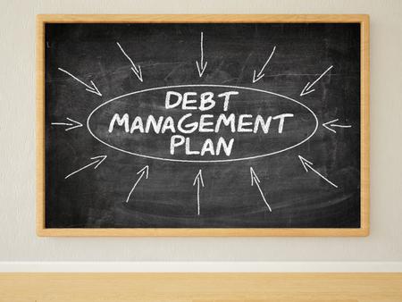 debt management: Debt Management Plan - 3d render illustration of text on black chalkboard in a room.