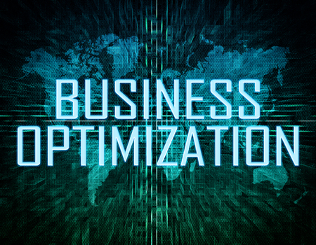 cost of education: Business Optimization text concept on green digital world map background