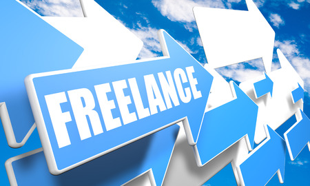 independent contractor: Freelance - 3d render concept with blue and white arrows flying in a blue sky with clouds Stock Photo