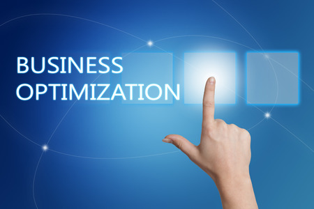 cost of education: Business Optimization - hand pressing button on interface with blue background.