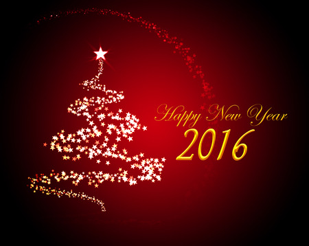 hogmanay: Holiday greeting card for New Years Eve 2016 with a christmas tree