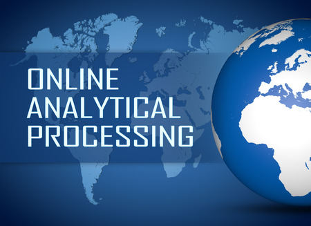 online analytical processing: Online Analytical Processing concept with globe on blue world map background
