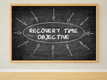 time critical: Recovery Time Objective - 3d render illustration of text on black chalkboard in a room.