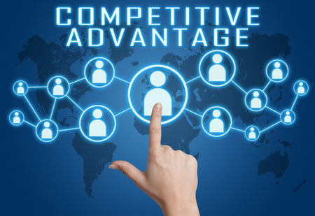 differentiation: Competitive Advantage concept with hand pressing social icons on blue world map background.