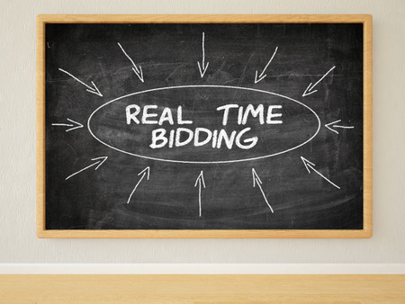bidding: Real Time Bidding - 3d render illustration of text on black chalkboard in a room. Stock Photo