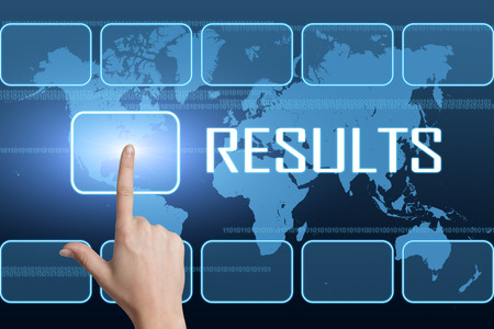 achieve: Results concept with interface and world map on blue background Stock Photo
