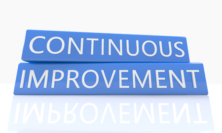 cip: Continuous Improvement - 3d render blue box with text on it on white background with reflection Stock Photo