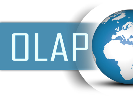online analytical processing: OLAP - Online Analytical Processing concept with globe on white background Stock Photo