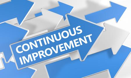 Continuous Improvement - 3d render concept met blauwe en witte pijlen vliegen over een witte achtergrond.
