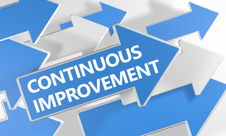 Continuous Improvement - 3d render concept with blue and white arrows flying over a white background. Standard-Bild