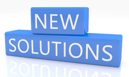 new solutions: New Solutions - 3d render blue box with text on it on white background with reflection Stock Photo