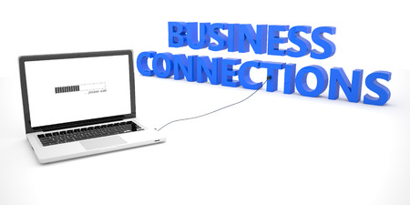 business connections: Business Connections - laptop notebook computer connected to a word on white background. 3d render illustration. Stock Photo