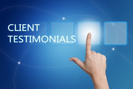 affirmations: Client Testimonials - hand pressing button on interface with blue background.