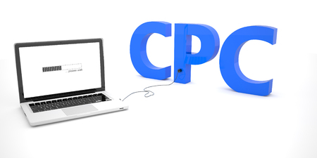 cpc: CPC - Cost per Click - laptop notebook computer connected to a word on white background. 3d render illustration.