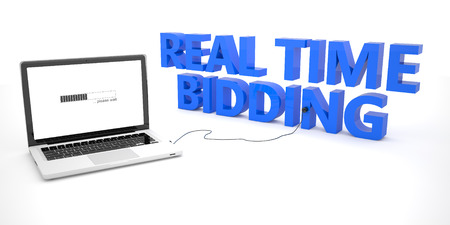 bidding: Real Time Bidding - laptop notebook computer connected to a word on white background. 3d render illustration. Stock Photo