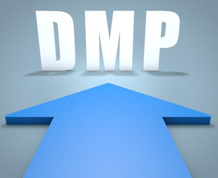debt management: DMP - Data Management Platform or Debt Management Plan - 3d render concept of blue arrow pointing to text.