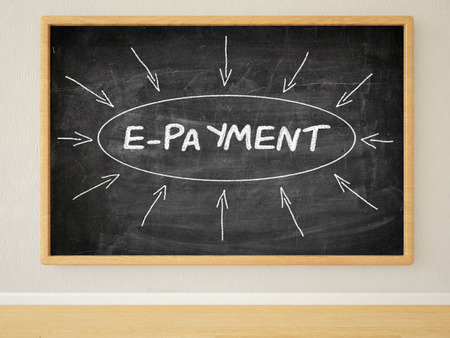 epayment: E-Payment - 3d render illustration of text on black chalkboard in a room. Stock Photo
