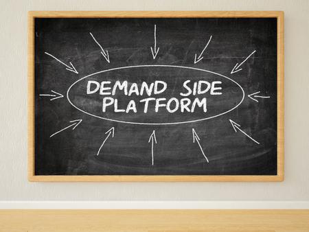 online bidding: Demand Side Platform - 3d render illustration of text on black chalkboard in a room.