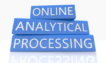 online analytical processing: Online Analytical Processing - 3d render blue box with text on it on white background with reflection Stock Photo