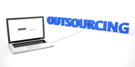 offshoring: Outsourcing - laptop notebook computer connected to a word on white background. 3d render illustration. Stock Photo