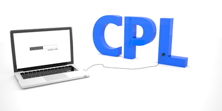 cpl: CPL - Cost per Lead - laptop notebook computer connected to a word on white background. 3d render illustration. Stock Photo