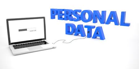 datos personales: Datos Personales - ordenador portátil ordenador portátil conectado a una palabra sobre fondo blanco. 3d ilustración.
