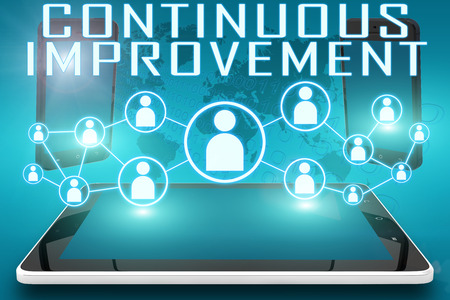 cip: Continuous Improvement - text illustration with social icons and tablet computer and mobile cellphones on cyan digital world map background. Stock Photo