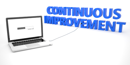 cip: Continuous Improvement - laptop notebook computer connected to a word on white background. 3d render illustration. Stock Photo