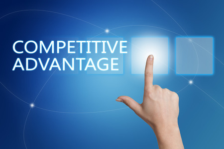 differentiation: Competitive Advantage - hand pressing button on interface with blue background. Stock Photo