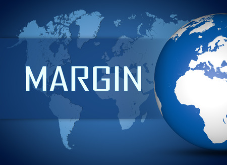 margen: Concepto de margen con el globo en el mapa del mundo de fondo azul