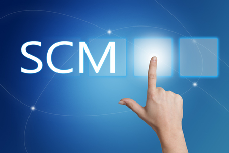 scm: SCM - Supply Chain Management - hand pressing button on interface with blue background.