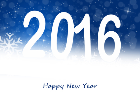 hogmanay: Holiday greeting card for New Years Eve 2016 with stars and snow Stock Photo