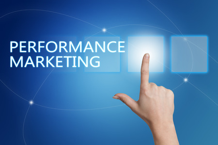 emarketing: Performance Marketing - hand pressing button on interface with blue background. Stock Photo