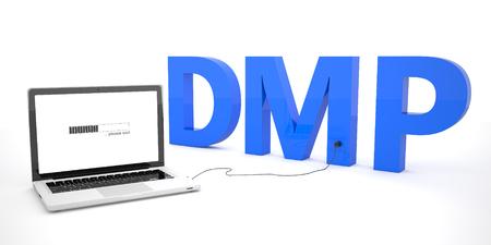 debt management: DMP - Debt Management Plan or Data Management Platform - laptop notebook computer connected to a word on white background. 3d render illustration. Stock Photo