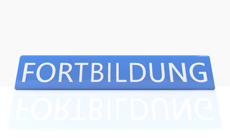 further education: Fortbildung - german word for further education - 3d render blue box with text on it on white background with reflection