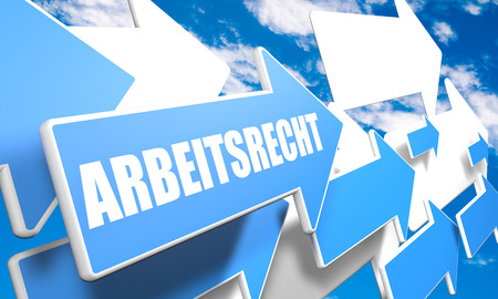 arbeitsrecht: Arbeitsrecht - german word for laborlaw 3d render concept with blue and white arrows flying in a blue sky with clouds