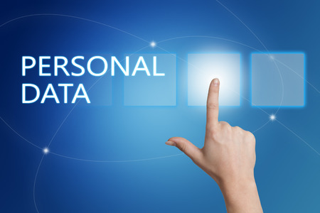 personal data: Personal Data - hand pressing button on interface with blue background.
