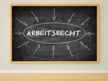arbeitsrecht: Arbeitsrecht - german word for employmentlaw - 3d render illustration of text on black chalkboard in a room.
