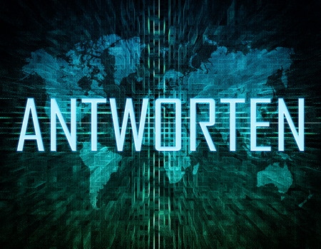 respond: Antworten - german word for answer or respond text concept on green digital world map background